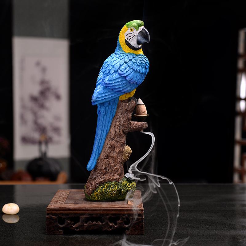 Resin Parrot Asap Air Terjun Arus Balik Dupa Burner Pedupaan Pemegang Aromaterapi Tungku Aromatik Rumah Kantor Kerajinan