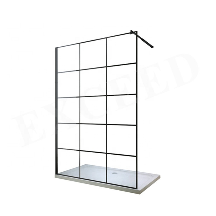 New product bathroom walk in shower enclosure with black grid 8mm glass