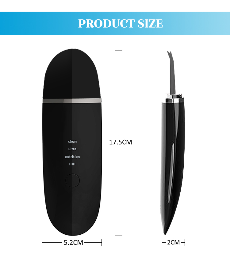 Portable Facial Ion Ultrasound Spatula Face Peeling Ultrasonic Skin Scrubber Machine
