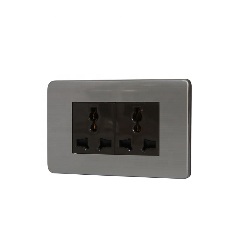 Universal Type 120*70mm Double 3pin Wall Socket Outlet US Standard Stainless Steel 15 Years 2 Gang Socket Type 118*72MM 16A,16A