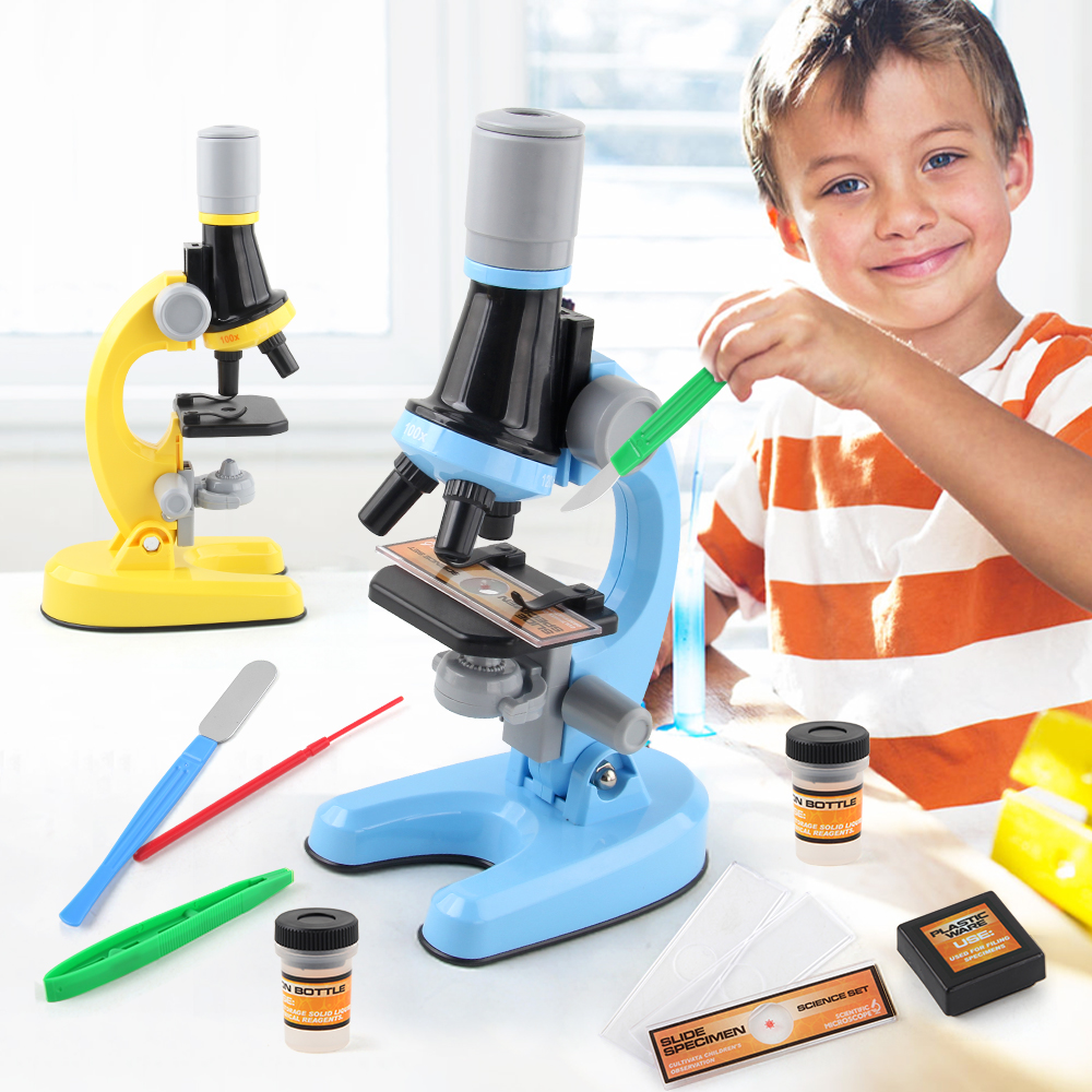 Childrens Microscope Toys Educational Science Toys HD Biological Microscope for Kids Science Experiment Kits White, One Size