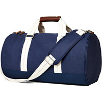 Barrel Duffel Travel Bag Canvas & Leather (Navy Blue)