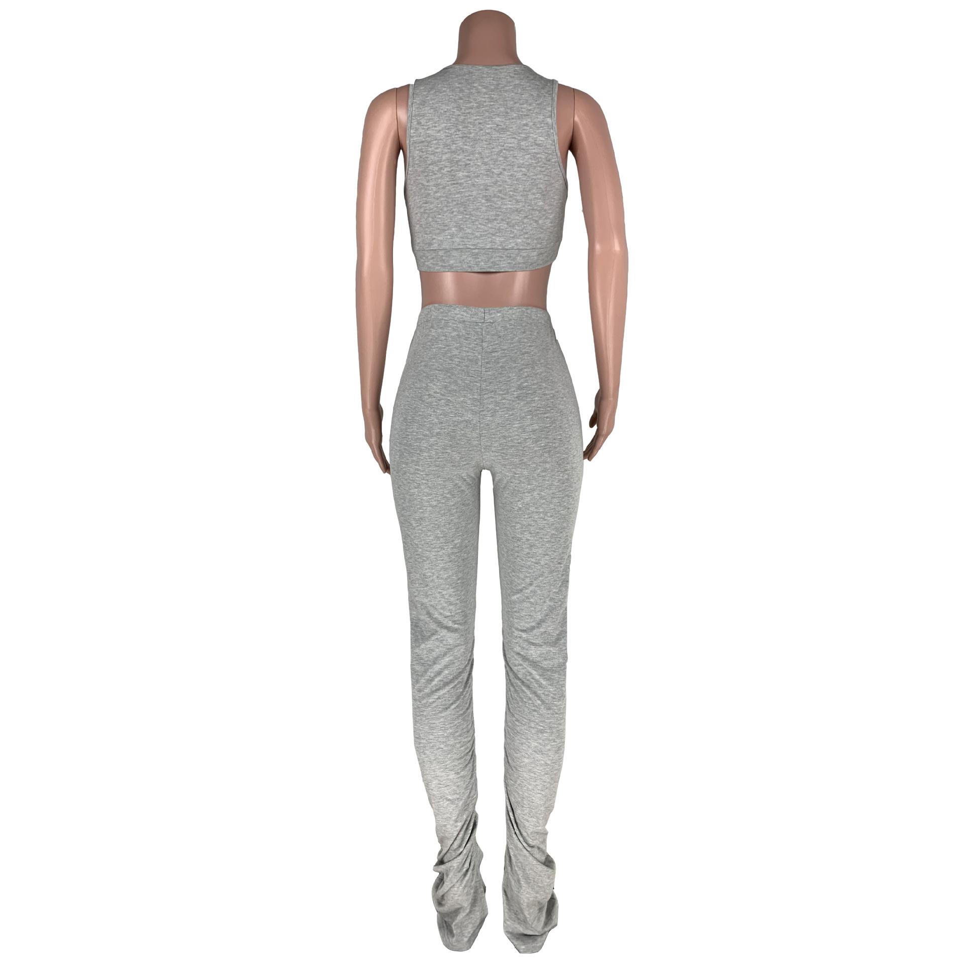 2 Conjunto pedaço Mulheres Cortar Top Calças Conjunto de Duas Peças Das Mulheres Empilhadas Empilhados Leggings Dois Outfits Peça