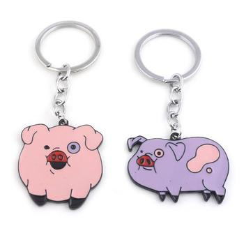 Cute Piggy Metal Enamel Keychain