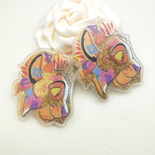 Cartoon lion Acryl shaker hars Acryl Planar Hars met Vloeiende Pailletten voor DIY Hair Bows 55*50MM