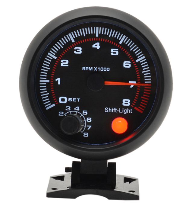 "Factory Price New 3.75"" 95mm Tachometer RPM Gauge White Led With Internal Shift Light Black Case"