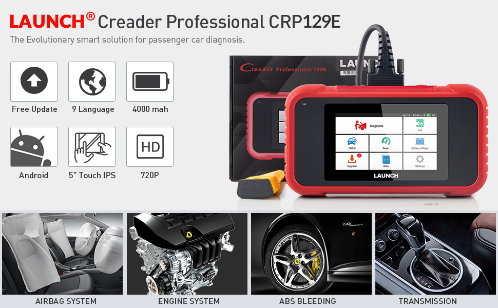 Launch X431 CRP129E Creader 129E obd 2 Diagnostic Tool Code Reader Launch diagnosis scanner 5 Reset Functions car repair tool