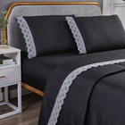 Bedding Bedding Sheet Hot Sale Luxury Easy Care 4pc Lace Decorative Sheet Set