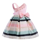 Wholesale baby girl dresses Pearl flower dress for children One-shouldered party dress with horizontal stripes