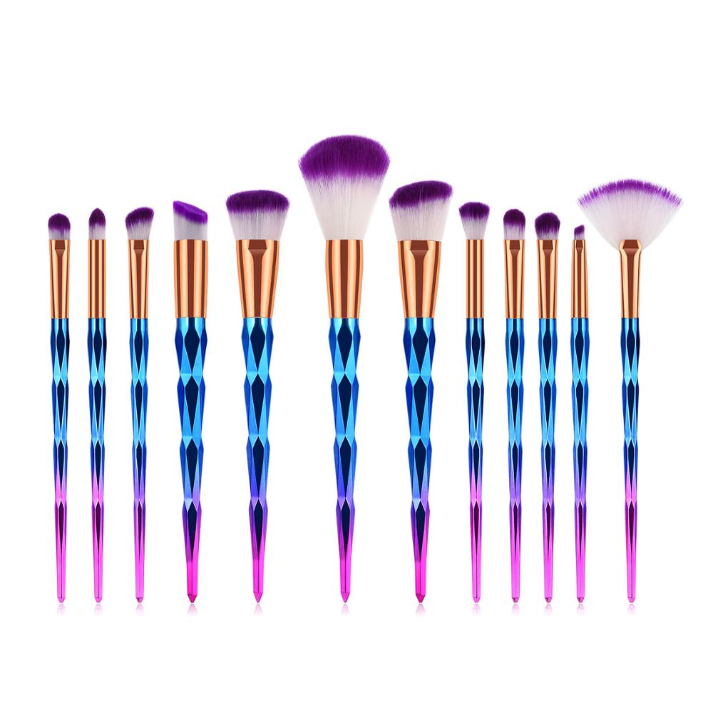 Eye smudge <strong>brush</strong> <strong>high</strong> <strong>quality</strong> professional wholesale 12pcs diamond colorful <strong>high</strong>-end handle <strong>makeup</strong> <strong>brush</strong> OEM