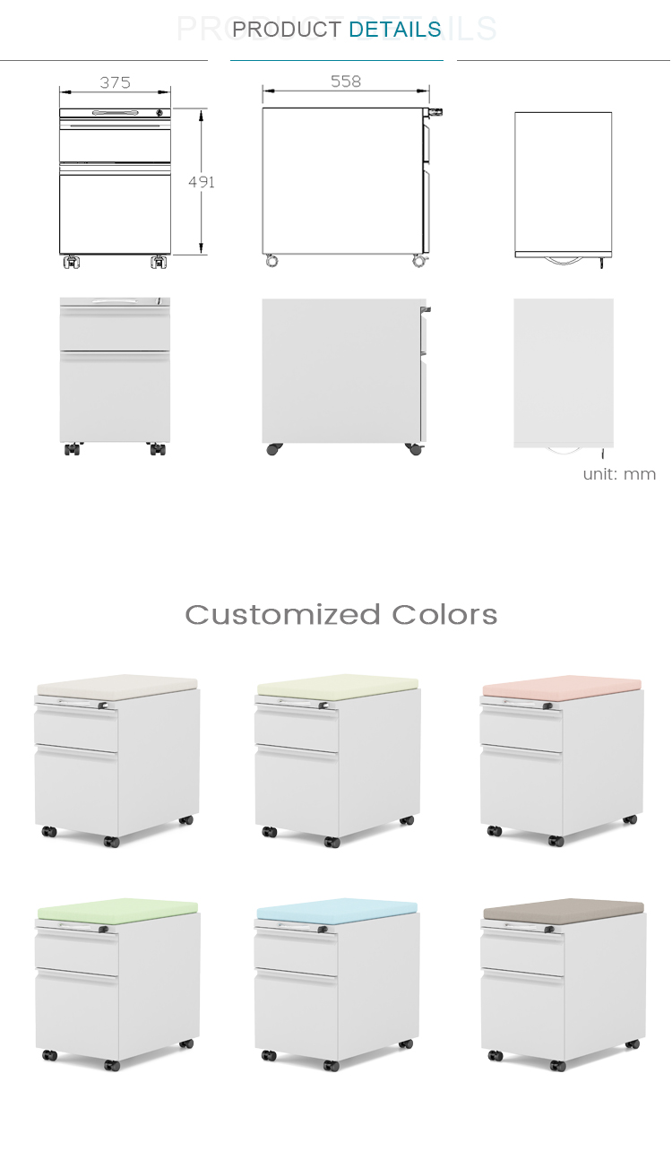 Office Mobile Pedestal 2 Drawer File Cabinet With Cushion