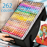 Set 262 colors manga sketch graffiti art drawing permanent alcohol based ink twin dual tips double ended headed paint marker pen