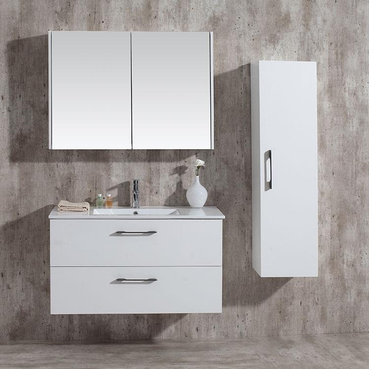 Modern Hotel Toilet Furniture Wall Mounted Mat White Single Ceramic Sink Basin Countertop Bathroom Mirror Vanity Cabinet Combo