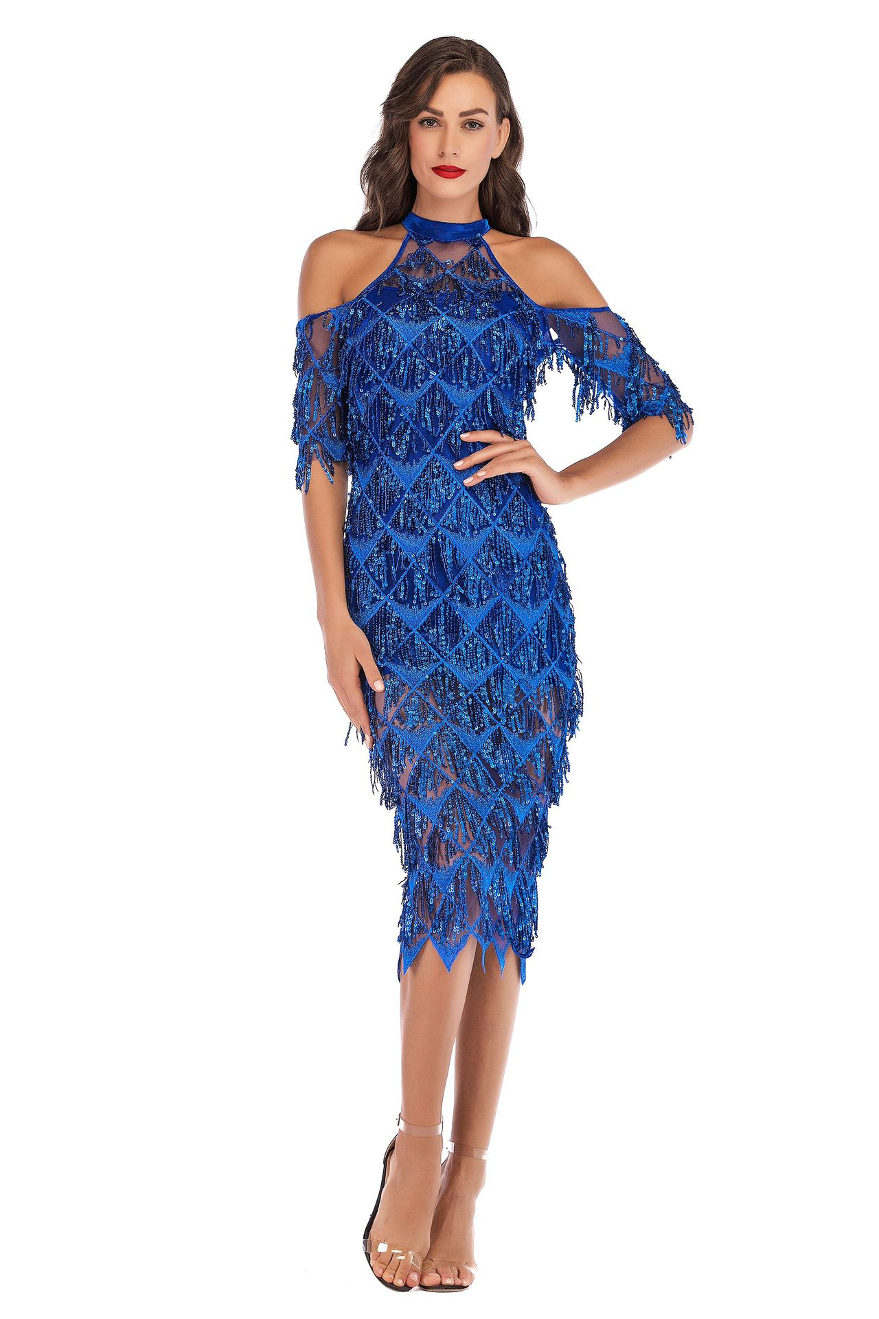 Sexy Slim Tassel Sequin Fringed Women Dress