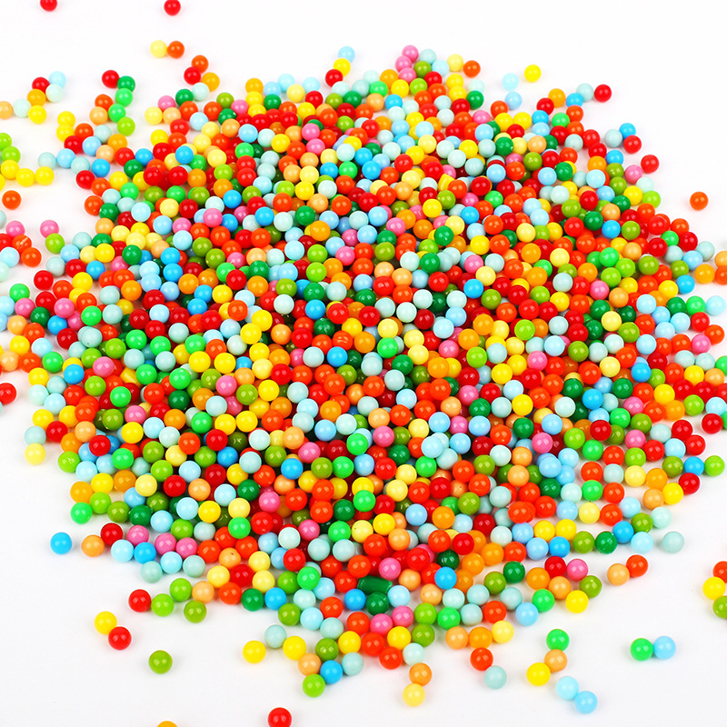 Mix Colours 4MM Opaque Solid Round Plastic Small Beads No Hole