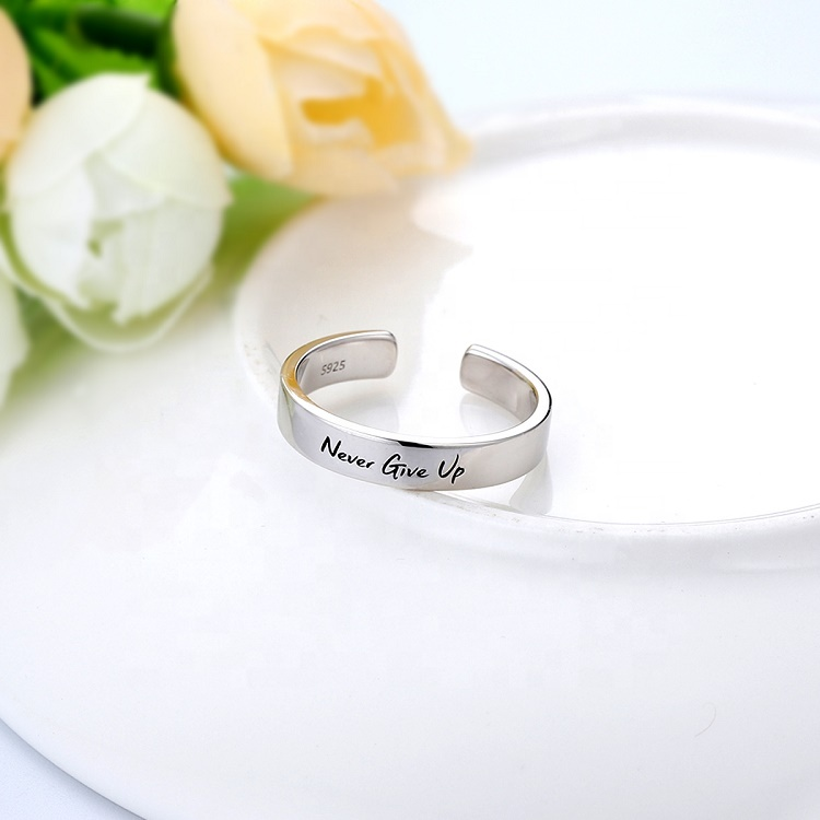 2020 New design customize 925 sterling silver plated white gold open ring