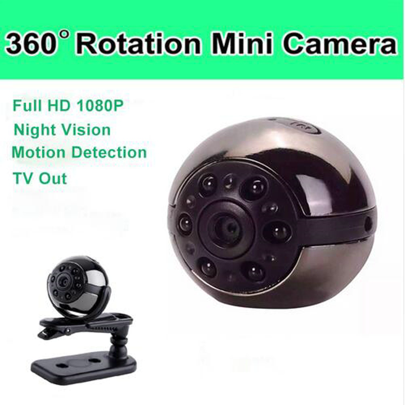 Mini Camera 1080P full HD Digital Camera 360D Rotating Infrared Night Motion Detection Micro Video Cam with Holder SQ9