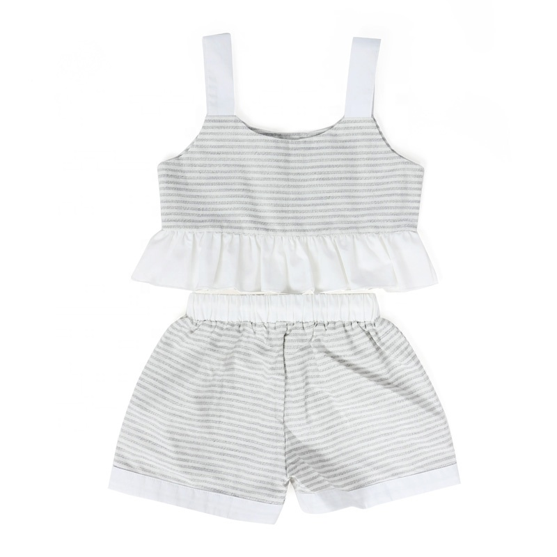 Wholesale kids clothing linen children's boutique clothes baby girl set