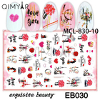 3d Nail Stickers Artificial 3d 2020 Newest 3D Nail Art Design Valentine Self Adhesive Stickers For Artificial Fingernails