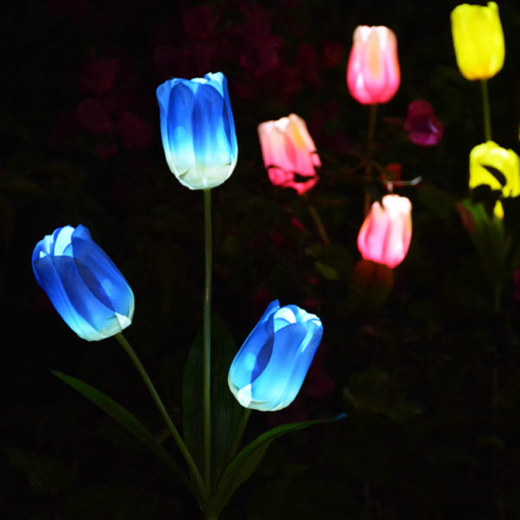 2020 Artificial Rose Tulip Lily  Sunflower Butterfly Wedding Outdoor Garden Pathway Lawn Stake Decoration Solar Flower Lights