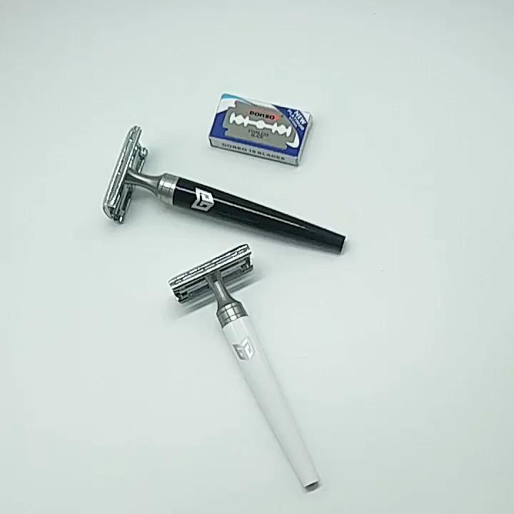 25% OFF Customize Logo Classical Double-Edge Safety Razors With Luxury Acrylic Plastic Handle