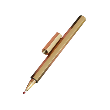 Gift Signature New Design Roller Handmade Copper Brass Pen New Year Vip Client Gifts Champagne Color Square Top Heavy Brass pen