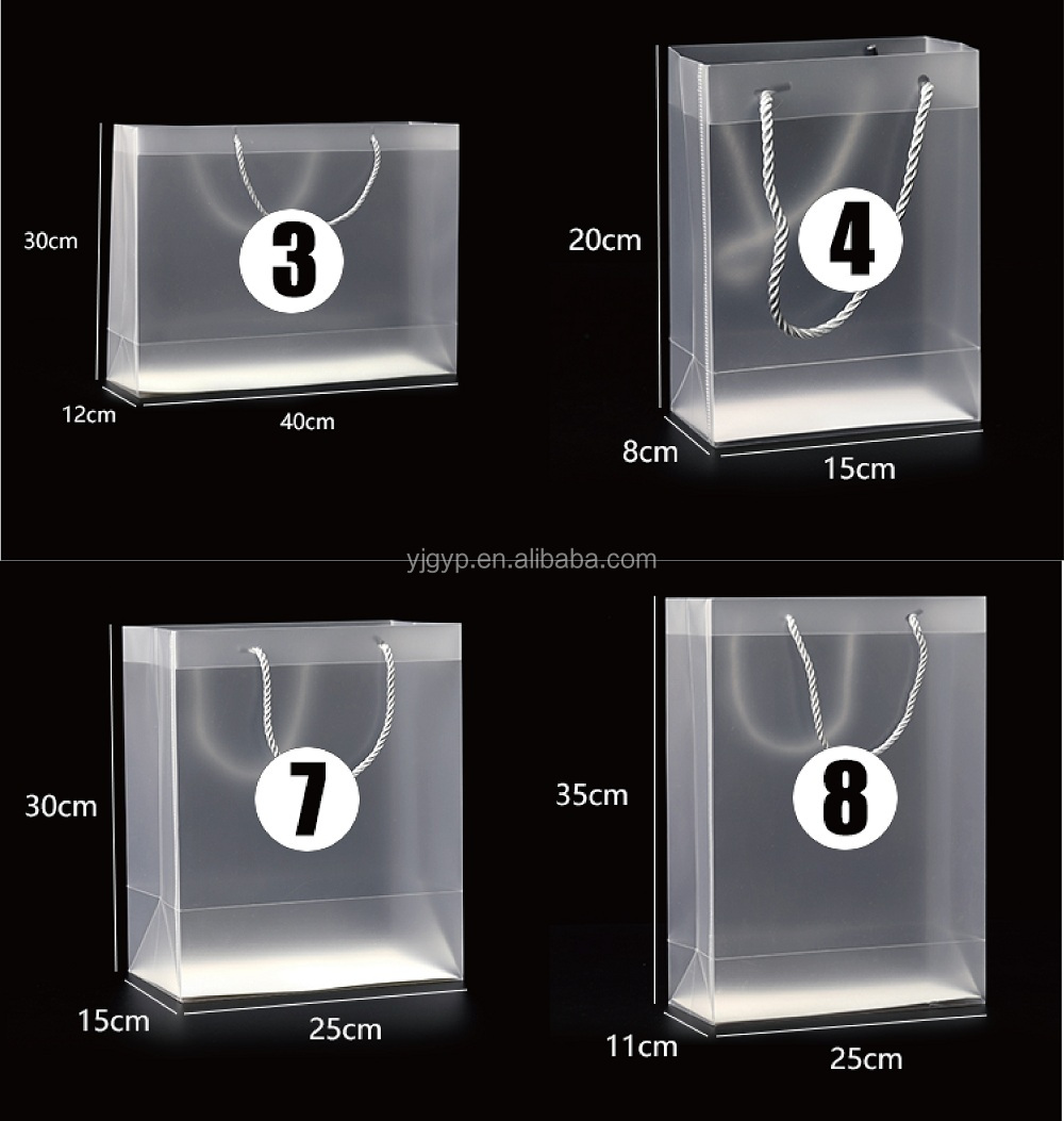 15 sizes Custom Eco friendly Clear Transparent Plastic Reusable Waterproof PVC Shopping Bag