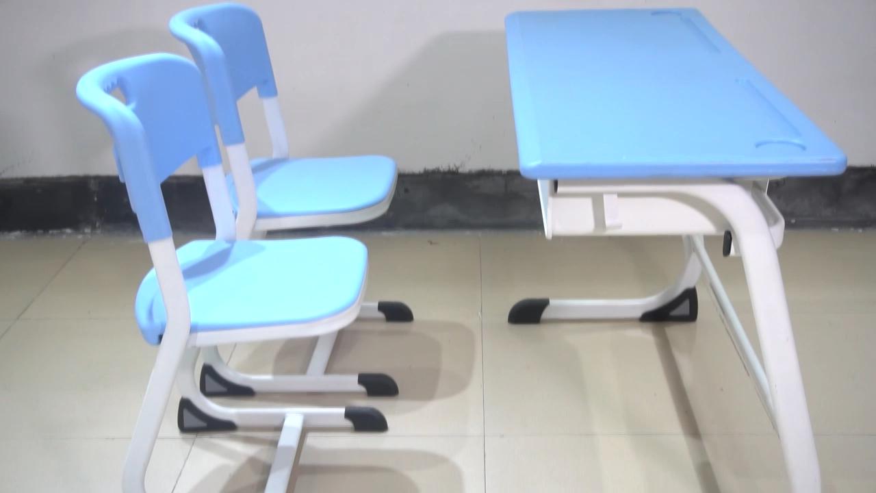 Dubbele student bureau en stoel-mdf melamine cover desktop school meubels type