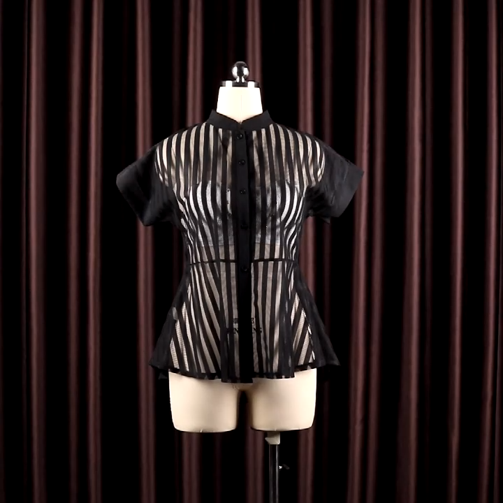 Chemisier transparent à pois pour femme, longue, taille élastique, noir et blanc, tenue ample