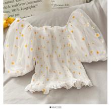 Укороченный Топ для женщин 2020, летние блузки и топы с цветочным принтом и ромашками в Корейском стиле, Сексуальная Блузка с вырезом лодочкой...(Китай)