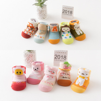 S34014W Korean kids cotton socks cute cartoon baby non-slip room socks