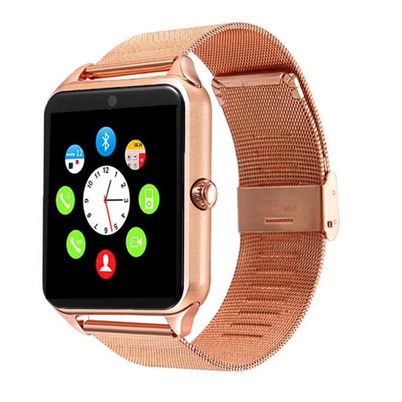 2019 새로 스마트 시계 팔찌 Z60 블루투스 카메라 손목 시계 지원 SIM/TF 카드 Smartwatch 스테인레스 밴드