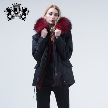 Hot sale real bright pink raccoon fur parka warm winter wear for ladies parka