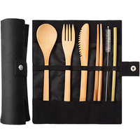 Wooden Tableware Cutlery Fork Spoon Knife Set Bamboo Straw Dinnerware Set with Travel Cloth Bag Chopsticks Wholesale