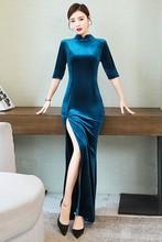 Для съемок в весенне-осеннем стиле, длинное модифицированное платье Чонсам высокого качества, Длинные парадные костюмы больших размеров(Китай)