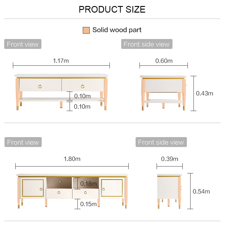 Linsy Home American style light luxury TV cabinet coffee table living room floor TV cabinet set furniture