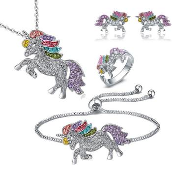 Hot sale Christmas Gifts New Color Rhinestone Unicorn Shaped Pendant Necklace Bracelet Stud Earrings Ring Set for friends gifts
