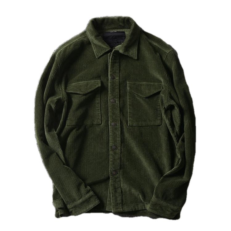 Custom Warm Mens Heavy Cotton thick corduroy shirt