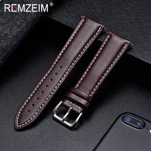 REMZEIM ремешок для часов из натуральной кожи Ремешки для наручных часов 18 мм 20 мм 22 мм 24 мм аксессуары для часов для женщин мужчин коричневый че...(China)