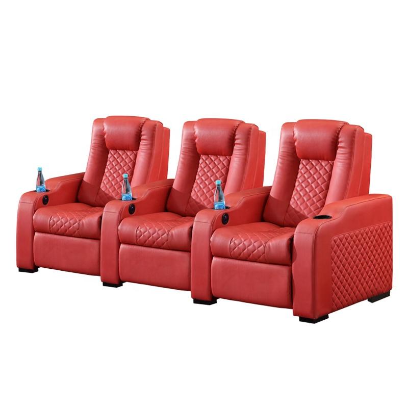 De cuero cómodo sofá de cine en casa USB moderno sillón reclinable interruptor de asiento Silla de cine en casa