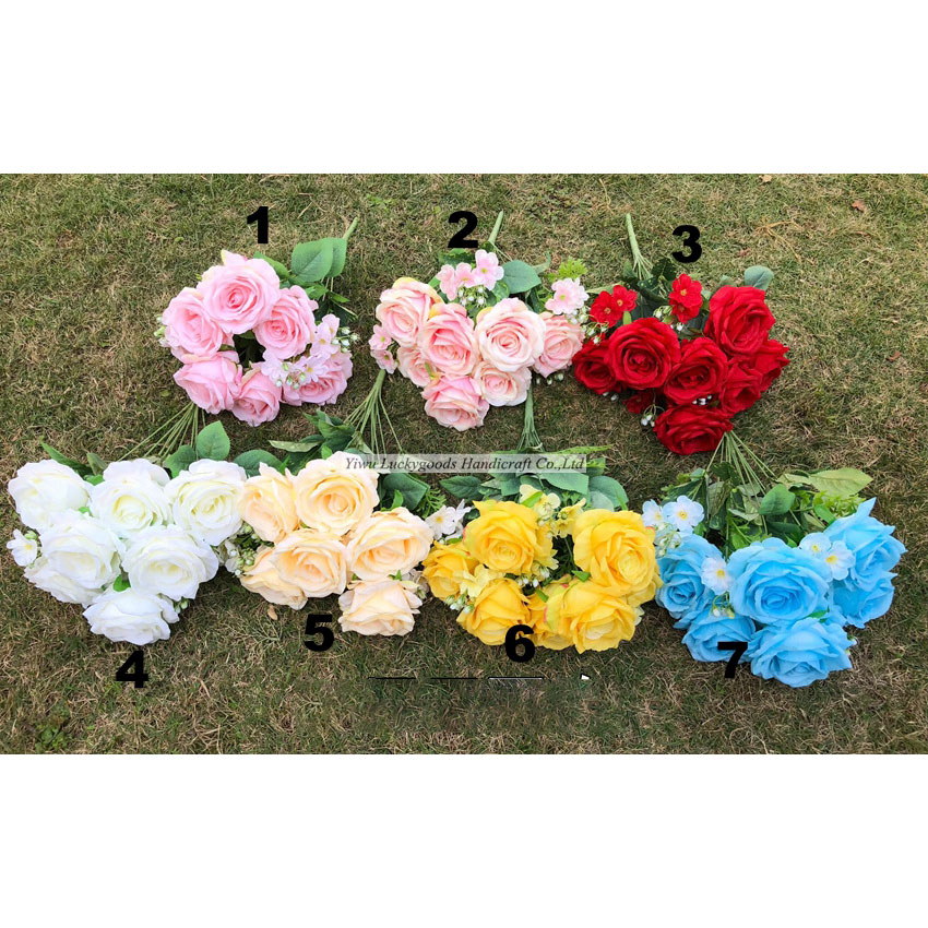 LF777-2 12 branches fashion romantic bridal rose flower bouquets for valentine