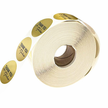One roll thank you stickers gold foil waterproof labels round printed sealing label