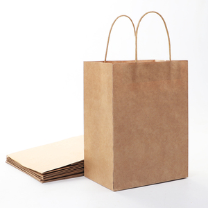 Cheap wholesale custom logo printing recyclable kraft shopping gift paper bags with your own logo