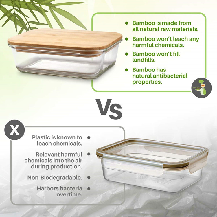 Fashion style eco friendly food container glass wholesale bamboo salad lunch box