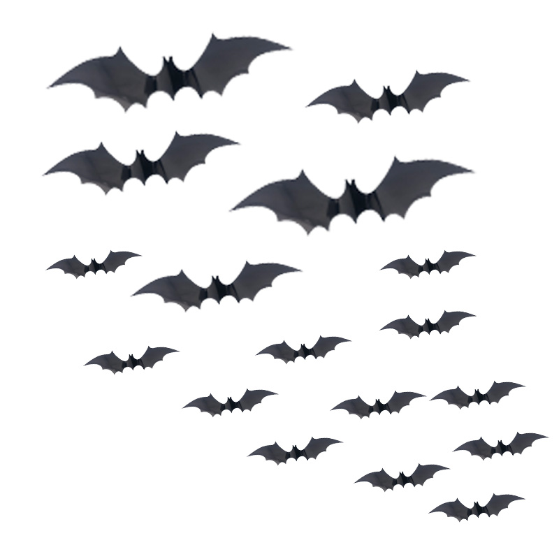 108pcs Wall Decals 3D Decorative Bat Wall Stickers Glass Decals for Home Decoration halloween decoration