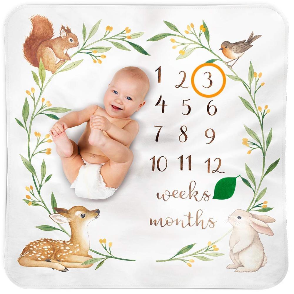 100% โพลีเอสเตอร์ Super Soft Flannel ขนแกะ Gril เด็กทารกรายเดือน Milestone ผ้าห่ม