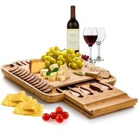 Bamboo cheese cutting board with knife set With slide-out drawer Bamboo cheese board