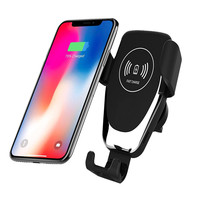 Automatic Clamping Gravity Qi Wireless Car Charger Mount 10W Fast Charging Phone Holder Smart Sensor Charger for Samsung iPhone