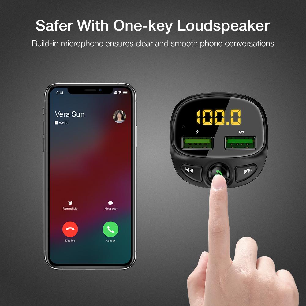 Бесплатная доставка FLOVEME новый продукт fm-передатчик Переходник Usb для зарядки в машине Bluetooth Mp3 музыкальный плеер двойной порт Usb Автомобильное зарядное устройство