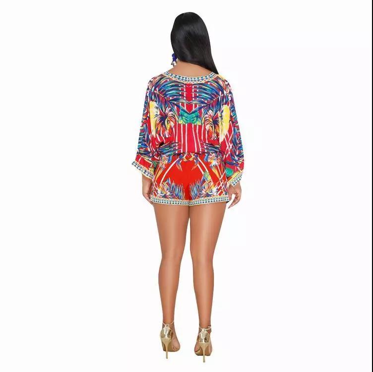 PH-206324 Boutique Pakaian Fashion Bohemian Dicetak Top dan Celana Pendek Dua Sepotong Set Pakaian Wanita